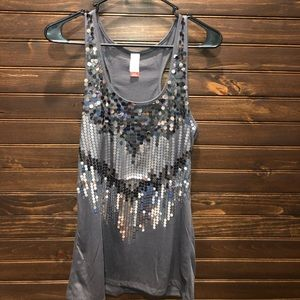 Sequined gray racer back tank top.